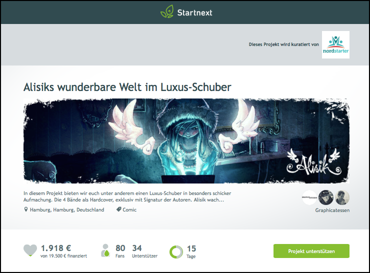 Alisik bei Startnext (Screenshot, 16.09.2015)