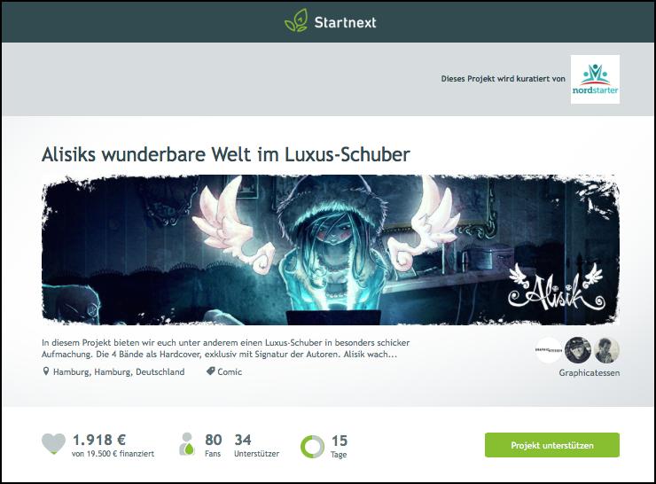 Alisik bei Startnext (Screenshot, 16.09.2015)