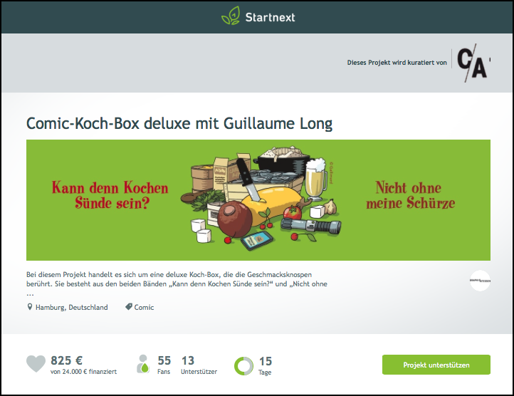 Comic-Koch-Box deluxe mit Guillaume Long bei Startnext (Screenshot, 16.09.2015)
