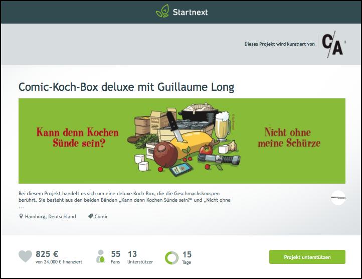 Comic-Koch-Box deluxe mit Guillaume Long bei Startnext (Screenshot, 16.09.2015)