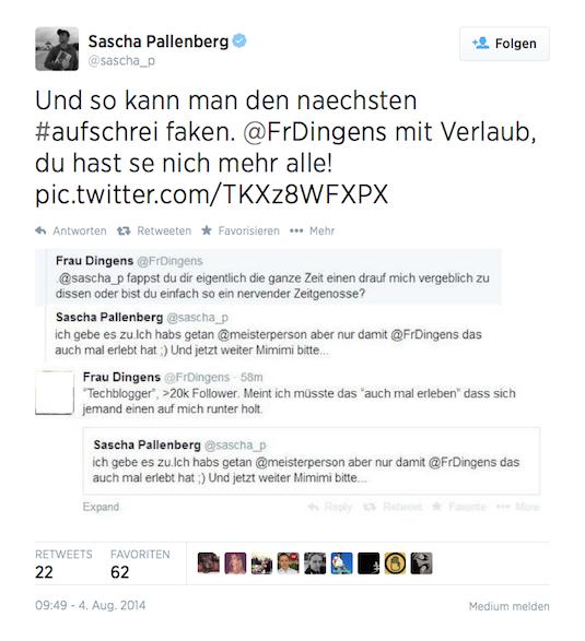 Tweet vom 04.08.2014 von @sascha_p